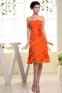 Orange Red Prom Dresses for Dama Decorated Handle Flowers and Layers