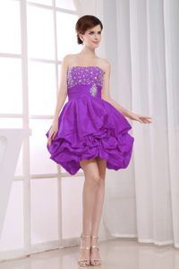 Beading Bust and Ruche Sash Purple Prom Dresses for Dama with Pick-ups
