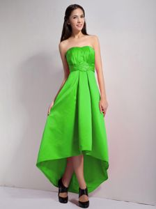 Spring Green A-line Strapless High-low Dama Dress Embellished Appliques