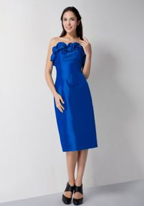 Royal Blue Column Strapless with Ruffles Dama Dress to Tea-length
