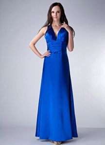 Royal Blue Deep V-neck with Sash 15 Dresses for Damas Embellished Ruche