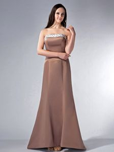 White Bustline Decorated Beaded Dresses for Dama in Brown with Brush
