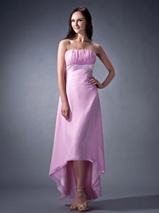 Pink Column and Ruching Bust 15 Dresses for Damas in High-low Design
