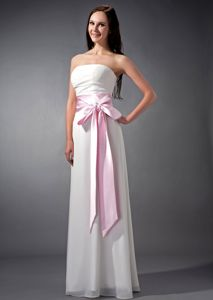 Baby Pink Sash Empire Ruching Damas Dresses for Quince in White