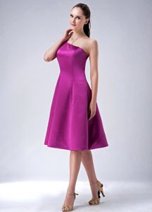 Fuchsia Princess One Shoulder 2013 Bridesmaid Dama Dresses to Knee