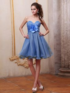 Blue Beaded Sweetheart Quinceanera Dama Dresses with Handle Flower