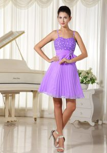 Spaghetti Straps Beaded Bowknot Lavender 15 Dresses for Damas