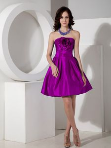 Purple A-line Mini Dresses for Damas Decorated Handle Flowers Front