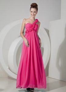 Coral Red One Shoulder Damas Dresses for Quince with Handle Flowers
