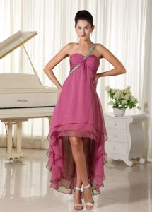 Beaded Decorated One Shoulder High-low Prom Dress with Ruching