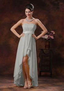 Grey High-low Chiffon Dama Dress for Quinceaneras with Belt Decorated