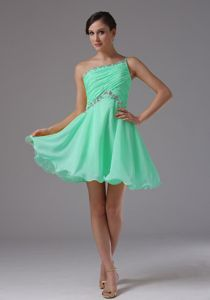Asymmetrical One Shoulder Apple Green Prom Dress with Ruche and Beading