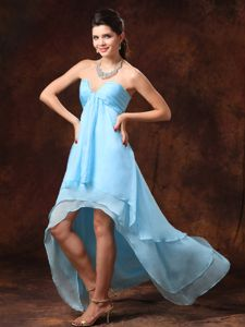 Baby Blue High-low Sweetheart Formal Dresses for Dama with Beading