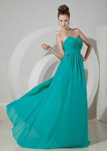 Teal Empire Sweetheart Prom Dress Made in Chiffon with Brush Train