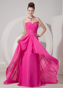 Hot Pink Ruching Bust Empire Prom Dresses for Dama with Brush Train