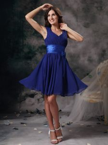 Peacock Blue Straps with V-neck Empire Ruching Mini 15 Dresses for Damas