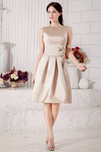 Champagne Bateau Quince Dama Dresses with Hand Made Flowers