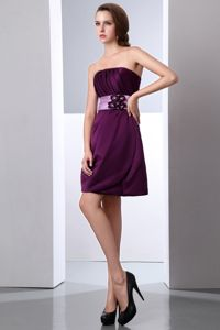 Dark Purple Mini Dama Dress for Quinceaneras with Flower and Ruching