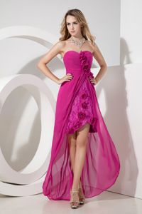 Fuchsia Flowers High-low Quince Dama Dresses in Chiffon and Lace