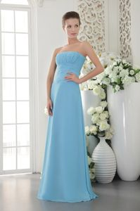 Light Blue Empire Strapless Ruching Prom Dress Embellished Wide Sash