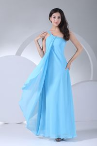 Aqua Blue One Shoulder Beaded Bridesmaid Dama Dresses with Zipper