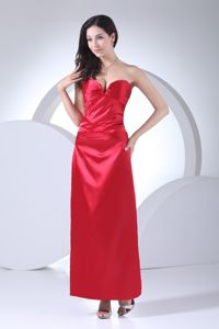 Red Sweetheart Damas Dresses for Quince with Ruche and Ankle-length