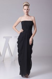 Black Column Ruche Prom Dresses for Dama and Draping Fabric Sides