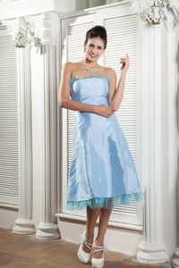 Baby Blue Tea-length Dresses for Damas Decorated Tulle Hemline