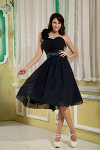 Navy Blue Princess One Shoulder Dresses for Damas Flowers Accent