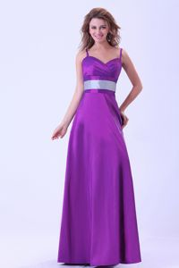 Purple Dama Dress for Quince with Belt and Spaghetti Straps Design