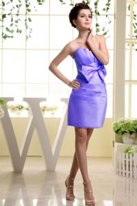 Bow and Ruche Strapless Mini-length Bridesmaid Dama Dresses in Lilac