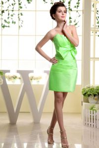 Spring Green Mini-length Cocktail Dresses for Dama with Bow and Ruche