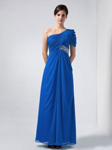 Ruching One Shoulder Chiffon Party Dama Dresses in Blue with Beading