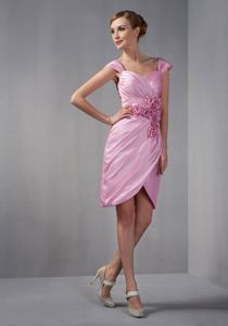 Cap Sleeves Rose Pink Dresses for Damas with Hand Made Flowers