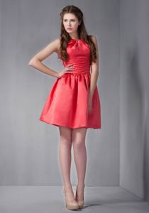 Taffeta Scoop Neck Rust Red Mini Party Dama Dress Under 100