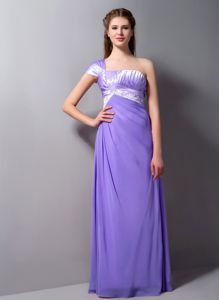 Ruching One Shoulder Lilac Damas Dresses for Quince with Beading