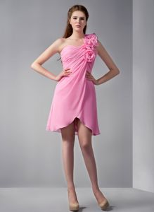 One Shoulder Pink Short Cocktail Dresses for Dama with Flowers
