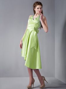 High-low Halter Yellow Green Dresses for Dama with Big Bow