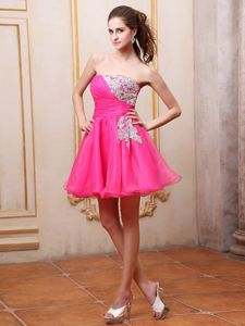 2013 Hot Sale Puffy Hot Pink Short Dama Dresses with Appliques
