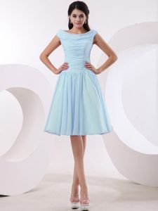 New Bateau Neck Baby Blue Ruched Quinceanera Damas Dresses