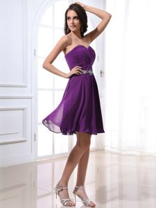 Fast Shipping Chiffon Purple Short Quince Dama Dress Under 150
