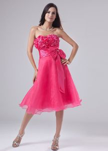 Hot Pink Short Quinceanera Dama Dress with Flowers and Bow