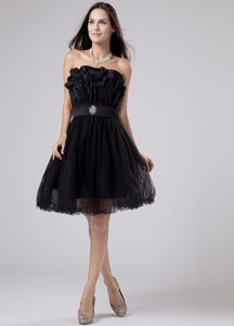 Fast Shipping Organza Zipper-up Ruffled Black Dama Dress Online