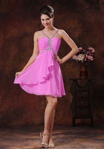 Custom Made Ruched Beaded Pink Mini Quinceanera Dama Dress