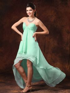 High-low Apple Green Quinceanera Damas Dresses for Summer