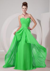 Wholesale Chiffon Spring Green Brush Train Quince Dama Dress