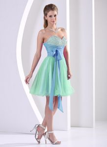 Multi-color Beaded Short Bridesmaid Dama Dresses with Sash