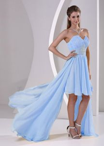 Perfect High-low Ruched Beaded Dress for Damas in Light Blue