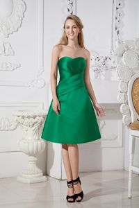 Fast Shipping Simple Satin Green Short Quinceanera Dama Dress