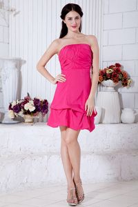 New Short Hot Pink Quinceanera Dama Dress with Bow on Back